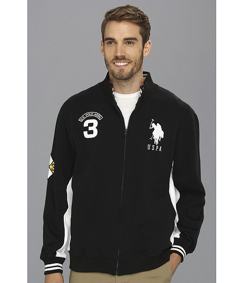 U.S. POLO ASSN. - Fleece Full Zip Long Sleeve Track Jacket (Black) Men's Coat