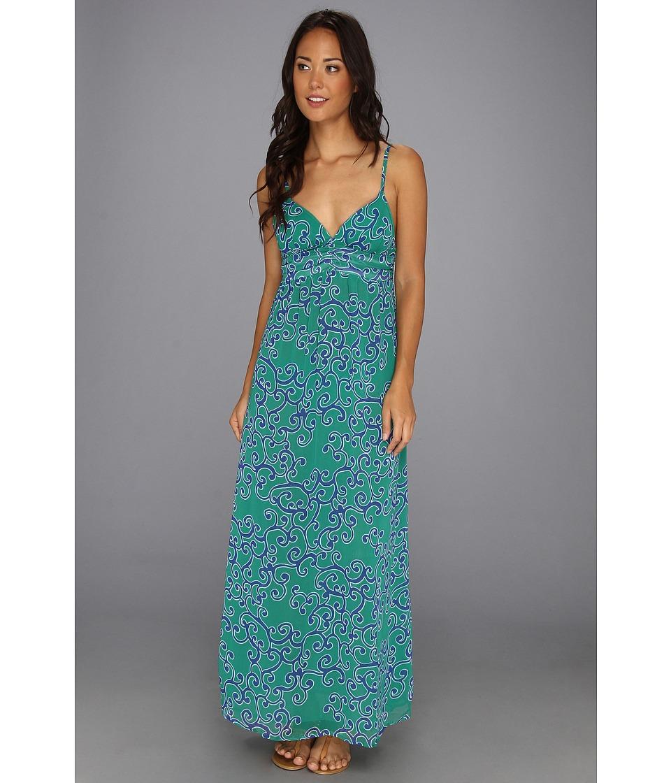 Tommy Bahama Ocean Swirl Long Maxi Dress Cover Up Womens Swimwear (Green)