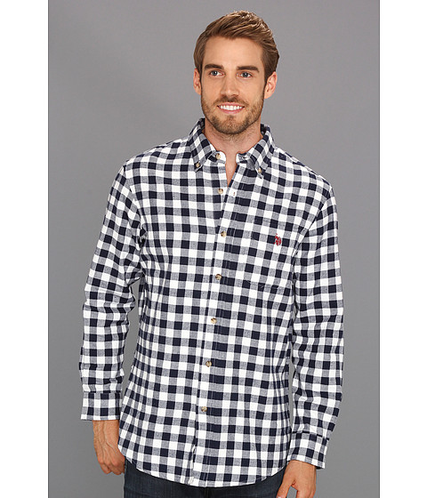 U.S. POLO ASSN. - Checkered Woven Shirt (Classic Navy) Men