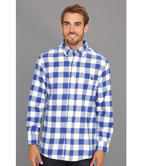 U.S. POLO ASSN. - Woven Shirt with Large Plaid Pattern (Cobalt Blue) Men's Long Sleeve Button Up