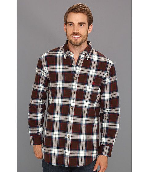 U.S. POLO ASSN. - Yarn Dyed Twill Shirt with Large Plaid Pattern (Java Brown) Men