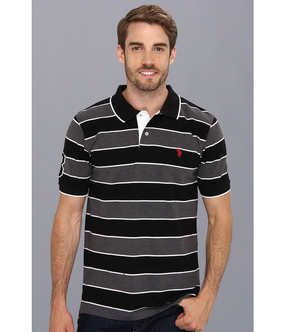 U.S. POLO ASSN. - Yarn Dyed Striped Polo with Small Pony (Black) Men's Short Sleeve Pullover