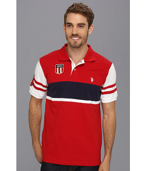 U.S. POLO ASSN. - Color Block Polo with Small Pony (Engine Red) Men