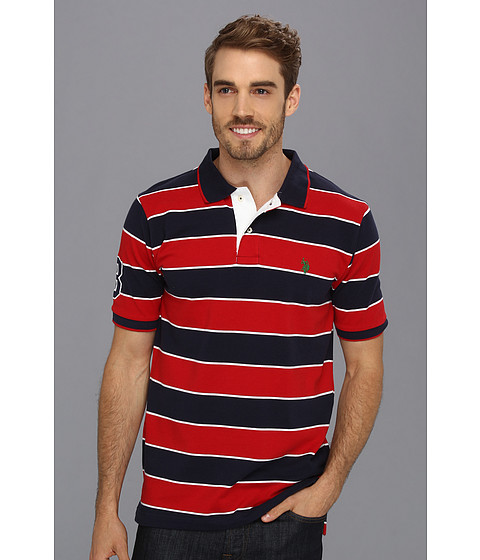U.S. POLO ASSN. - Yarn Dyed Striped Polo with Small Pony (Engine Red) Men