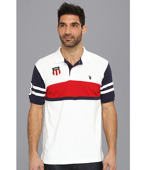 U.S. POLO ASSN. - Color Block Polo with Small Pony (White) Men's Short Sleeve Pullover
