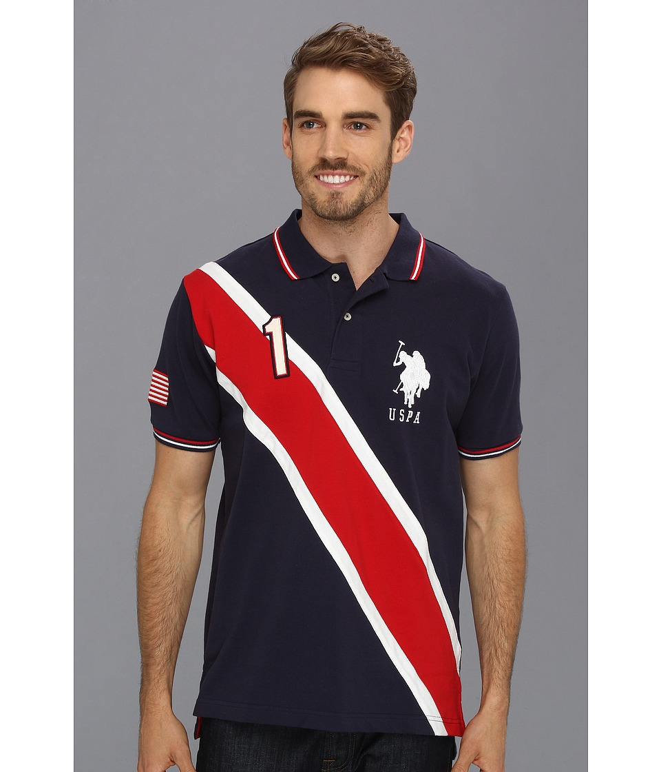 U.S. POLO ASSN. - Solid Polo with Contrast Color Piecing (Classic Navy 2) Men
