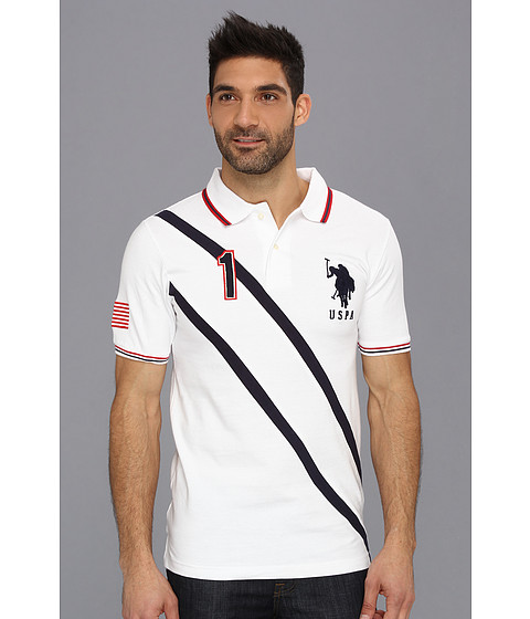 U.S. POLO ASSN. - Solid Polo with Contrast Color Piecing (White) Men