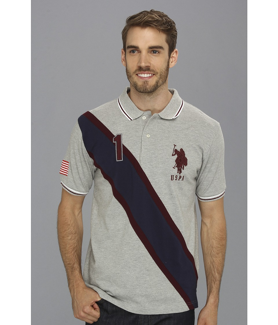 U.S. POLO ASSN. - Solid Polo with Contrast Color Piecing (Medium Heather Grey) Men