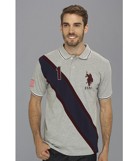 U.S. POLO ASSN. - Solid Polo with Contrast Color Piecing (Medium Heather Grey) Men's Short Sleeve Knit