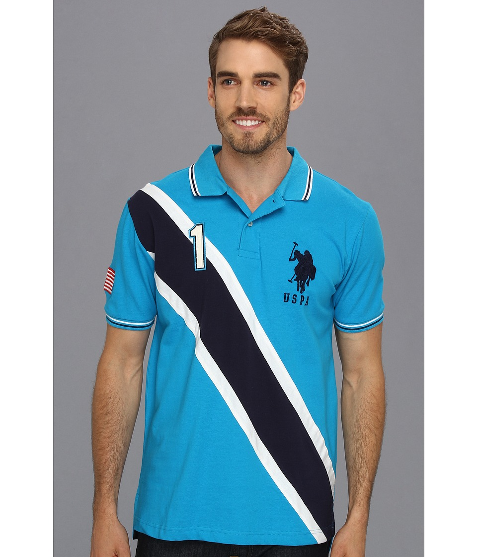 U.S. POLO ASSN. - Solid Polo with Contrast Color Piecing (Teal Blue) Men's Short Sleeve Knit