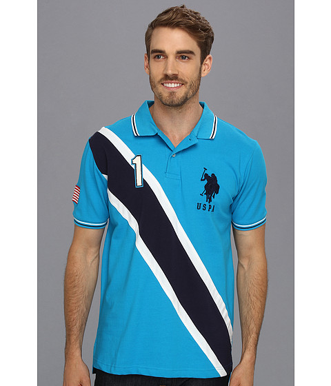 U.S. POLO ASSN. - Solid Polo with Contrast Color Piecing (Teal Blue) Men
