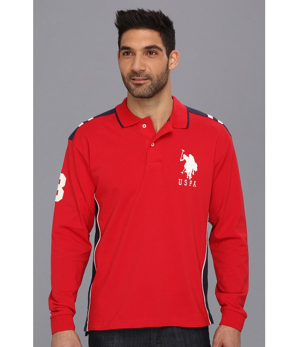 U.S. POLO ASSN. - Long Sleeve Pique Polo with Big Pony (Engine Red) Men's Long Sleeve Pullover