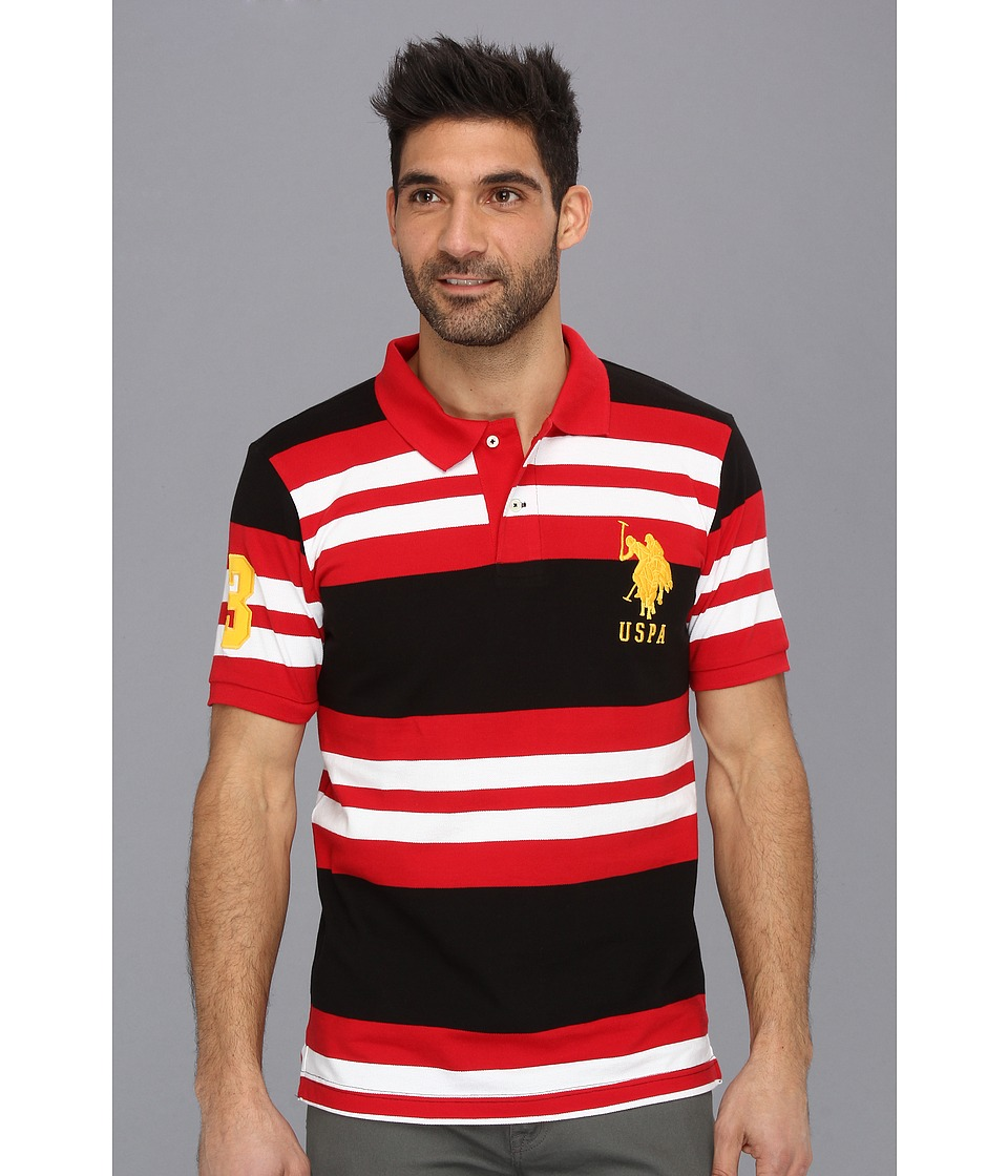 U.S. POLO ASSN. - Multi Colored Striped Polo with Big Pony (Engine Red) Men's Short Sleeve Pullover