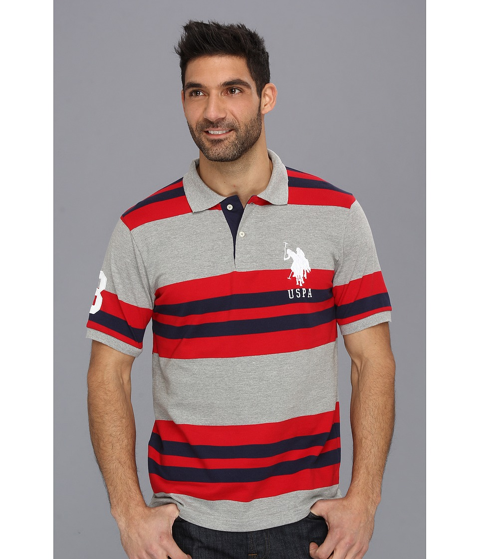 U.S. POLO ASSN. Multi Colored Striped Polo with Big Pony Medium Heather Grey Mens Short Sleeve Pullover