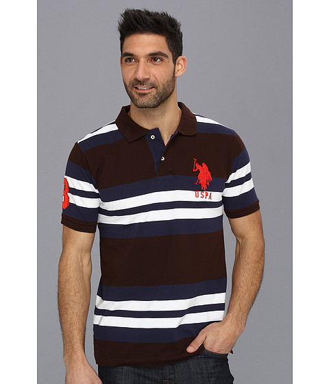 U.S. POLO ASSN. - Multi Colored Striped Polo with Big Pony (Java Brown) Men's Short Sleeve Pullover