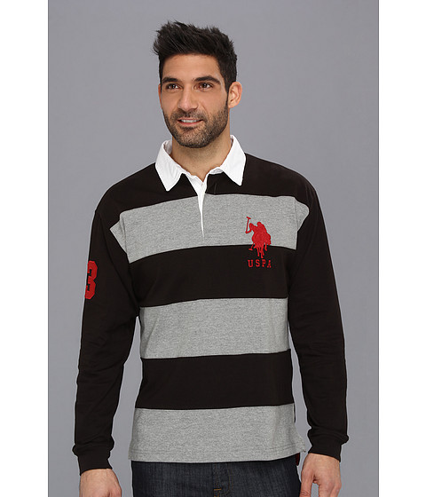 U.S. POLO ASSN. - Heavy Weight Jersey Pieced Color Block Rugby (Black) Men
