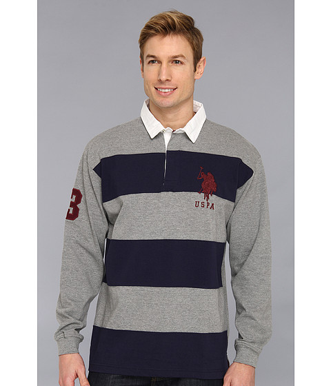 U.S. POLO ASSN. - Heavy Weight Jersey Pieced Color Block Rugby (Classic Navy) Men's Clothing