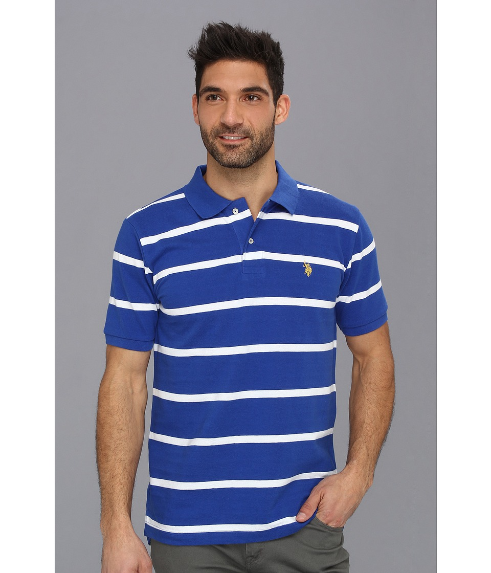 U.S. POLO ASSN. - Thin Striped Pique Polo with Small Pony (Cobalt Blue/ White) Men's Short Sleeve Pullover