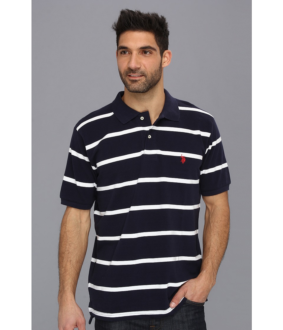 U.S. POLO ASSN. - Thin Striped Pique Polo with Small Pony (Classic Navy) Men's Short Sleeve Pullover
