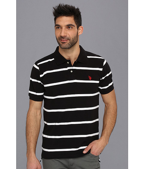 U.S. POLO ASSN. - Thin Striped Pique Polo with Small Pony (Black) Men