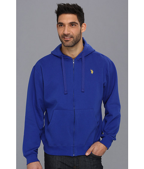 U.S. POLO ASSN. - Full Zip Long Sleeve Hoodie with Small Pony (Cobalt Blue) Men's Sweatshirt
