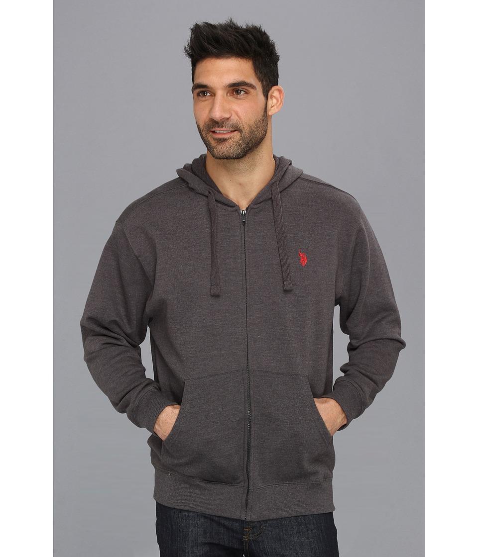 U.S. POLO ASSN. - Full Zip Long Sleeve Hoodie with Small Pony (Dark Grey) Men's Sweatshirt