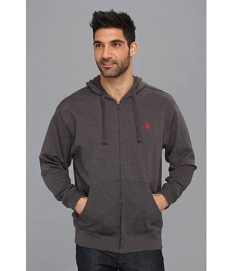 U.S. POLO ASSN. - Full Zip Long Sleeve Hoodie with Small Pony (Dark Grey) Men's Sweatshirt