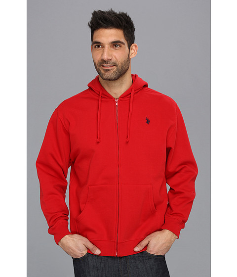U.S. POLO ASSN. - Full Zip Long Sleeve Hoodie with Small Pony (Engine Red) Men's Sweatshirt