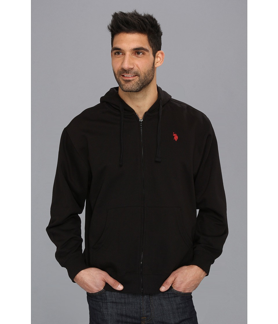 U.S. POLO ASSN. - Full Zip Long Sleeve Hoodie with Small Pony (Black) Men's Sweatshirt