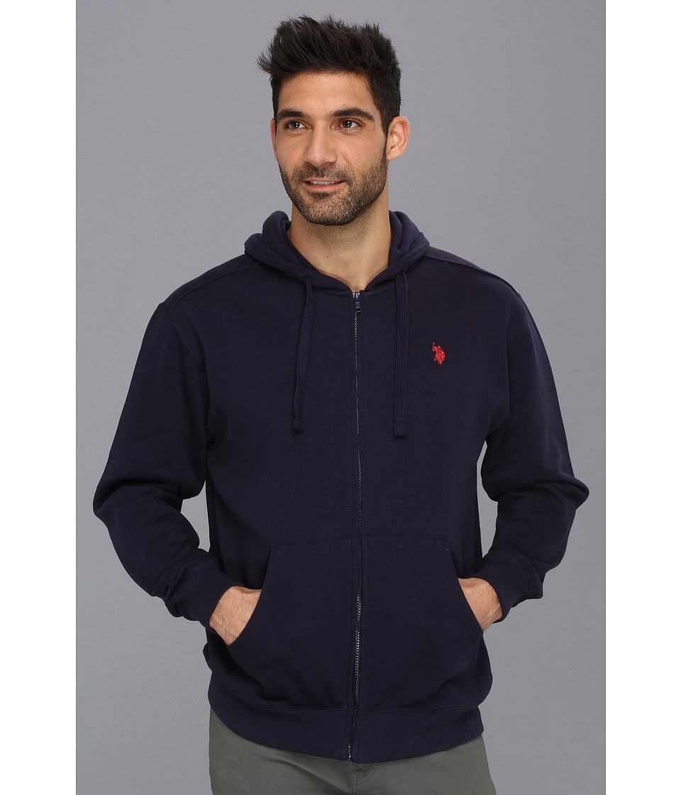 U.S. POLO ASSN. - Full Zip Long Sleeve Hoodie with Small Pony (Classic Navy) Men's Sweatshirt