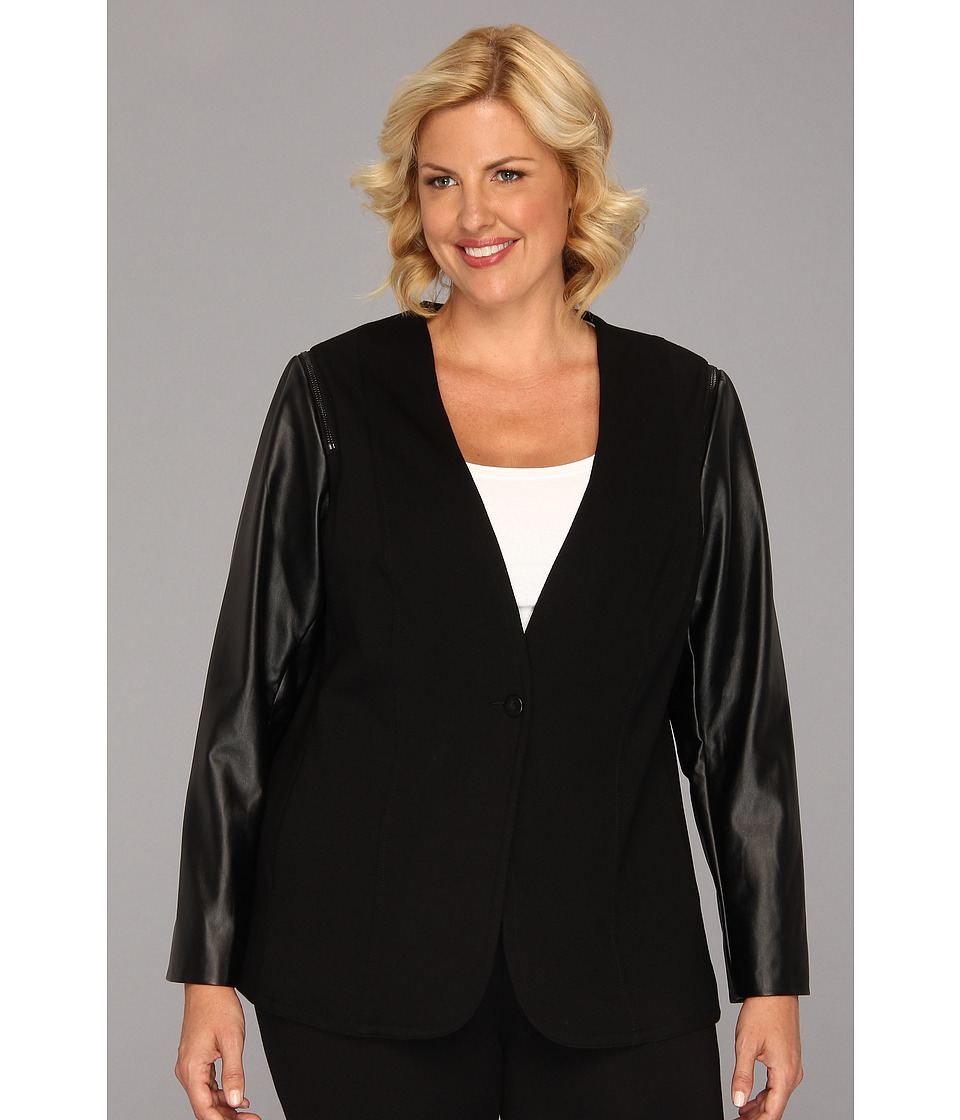 Vince Camuto - Plus Size Pleather Sleeve Jacket (Rich Black) Women's Jacket