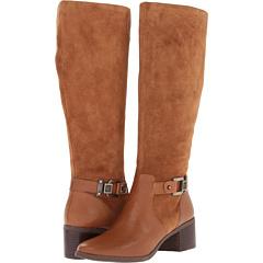 Anne Klein Joetta Wide Calf (Cognac Suede Cognac Leather) Footwear