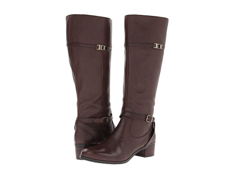 Bandolino - Callan Wide Calf (Dark Brown Leather) Women's Zip Boots