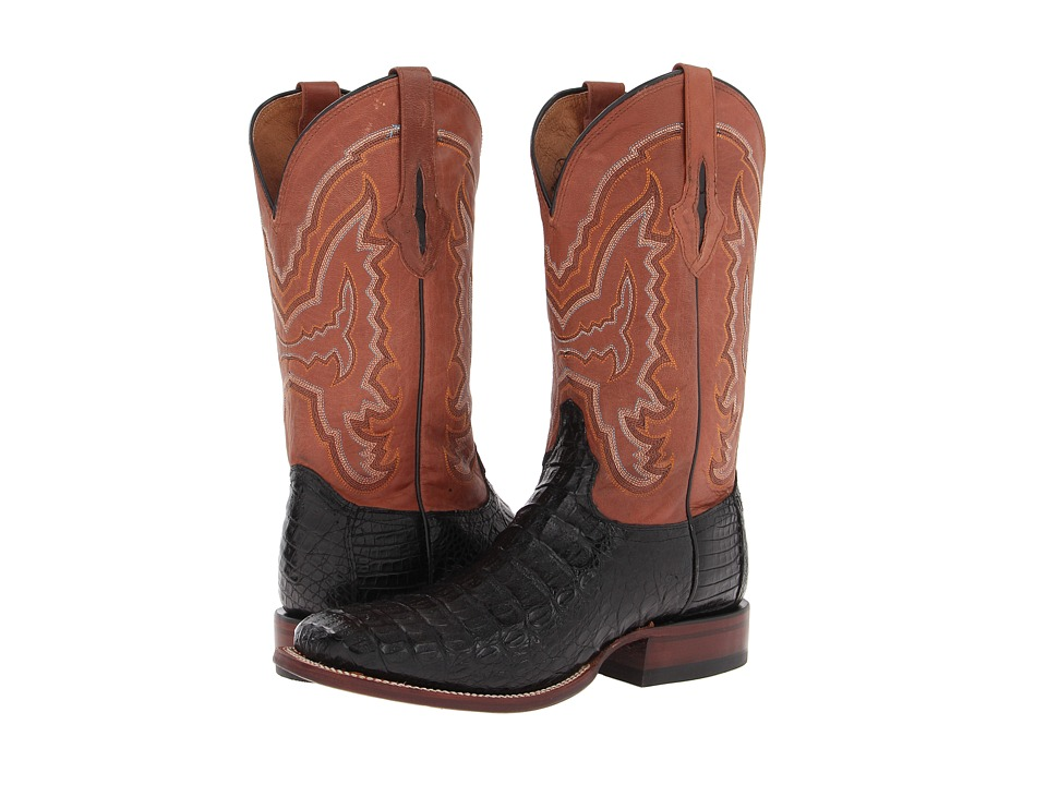 Lucchese - M4537 (Black Hornback Caiman/Cognac Mad Dog Palo Duro) Cowboy Boots