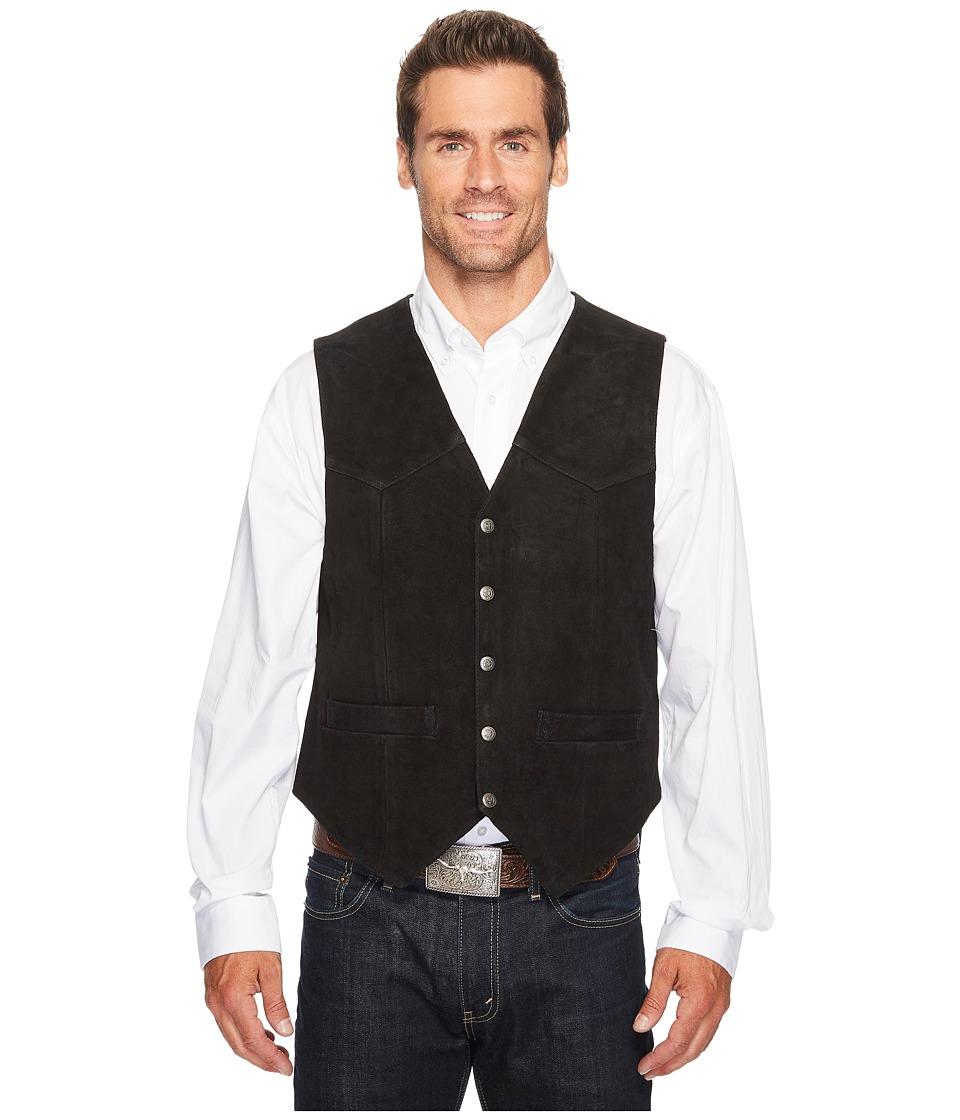 Scully - Rugged Calf Suede Vest (Black) Men's Vest