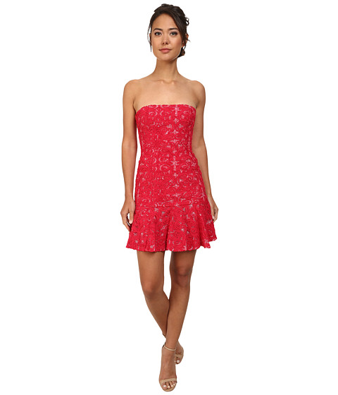 BCBGMAXAZRIA - Marina Knit Strapless Evening Dress (Rio Red) Women's Dress