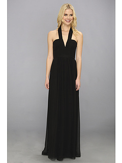 SALE! $184.99 - Save $183 on BCBGMAXAZRIA Starr Deep V Neck Silk Halter Dress (Black) Apparel - 49.73% OFF $368.00