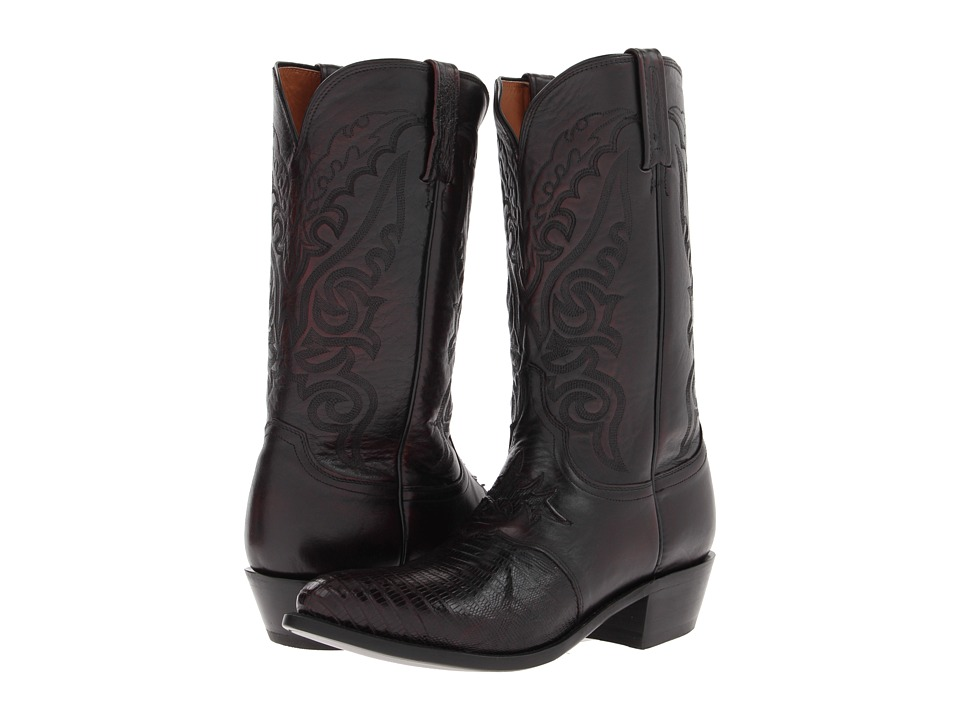 Lucchese - M2901.J4 (Black Cherry Saddle Vamp Lizard) Cowboy Boots