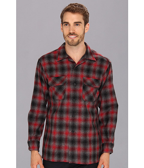 Pendleton - L/S Board Shirt (Red/Black Ombre) Men's Long Sleeve Button Up