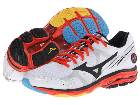 Mizuno - Wave Rider 17 (White/Black/Fiesta) Men's Running Shoes