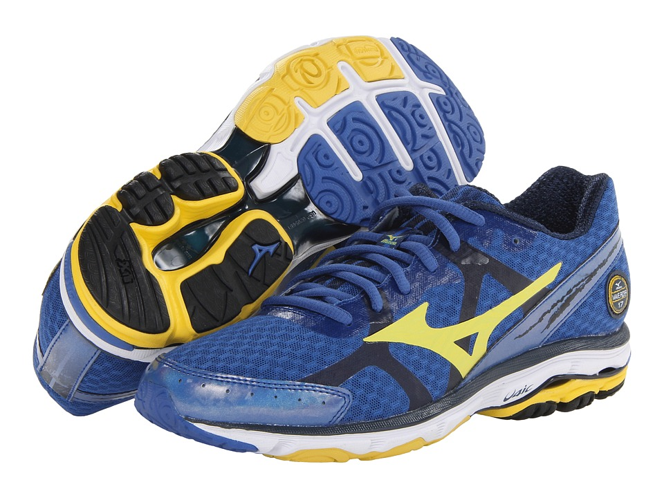 Mizuno - Wave Rider 17 (Olympian Blue/Cyber Yellow/Dress Blue) Men's Running Shoes