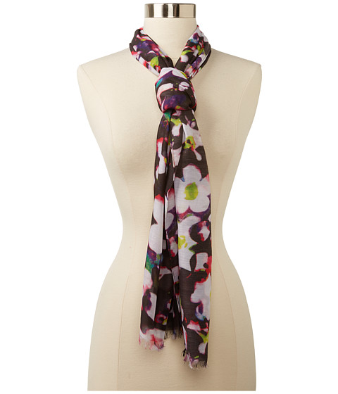 Echo Design - Digital Flower Wrap Scarf (Black Multi) Scarves