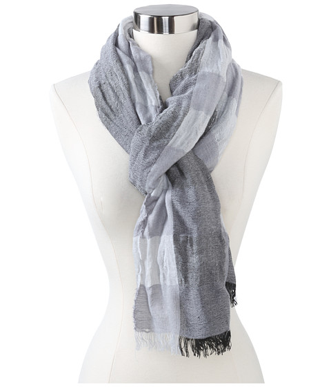 Echo Design - mSoft Crinkled Plaid Woven Scarf (Black) Scarves