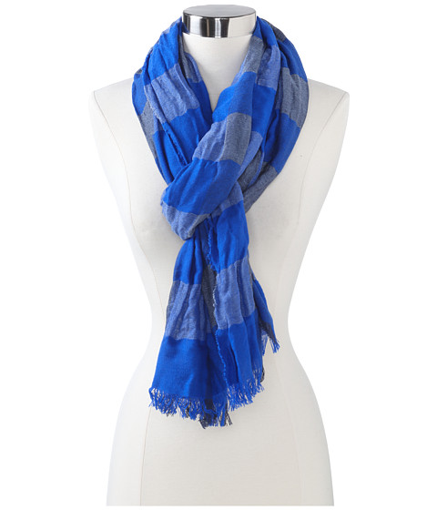 Echo Design - mSoft Crinkled Plaid Woven Scarf (Denim) Scarves