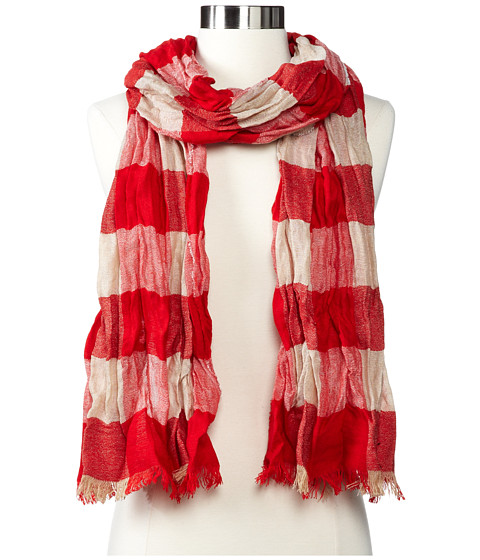 Echo Design - mSoft Crinkled Plaid Woven Scarf (Lacquer Red) Scarves