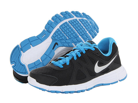 Nike Kids - Revolution 2 (Big Kid) (Black/Vivid Blue/White/Metallic Silver) Kids Shoes