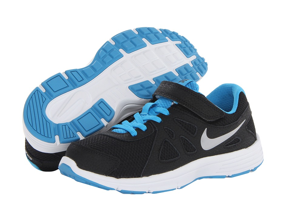 Nike Kids - Revolution 2 (Little Kid) (Black/Vivid Blue/White/Metallic Silver) Boys Shoes