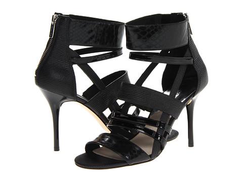 MICHAEL Michael Kors Shiloh Open Toe (Black Laminated Python/Patent/Embossed Lizard Specchio) Women's Toe Open Shoes