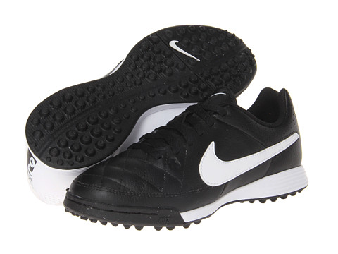 Nike Kids - Jr Tiempo Genio Leather TF Soccer (Toddler/Little Kid/Big Kid) (Black/Black/White Multi Snake) Kids Shoes