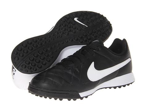 Nike Kids - Jr Tiempo Genio Leather TF Soccer (Toddler/Little Kid/Big Kid) (Black/Black/White Multi Snake) Kids Shoes